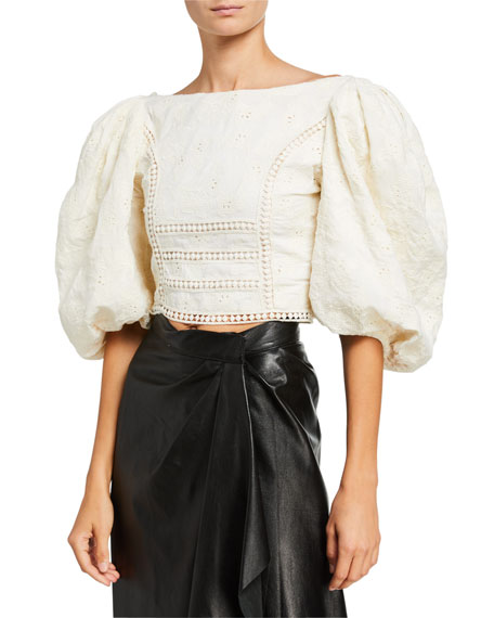 Johanna Ortiz Hazel Reflection Floral Jacquard Cotton Puff-Sleeve Crop Top