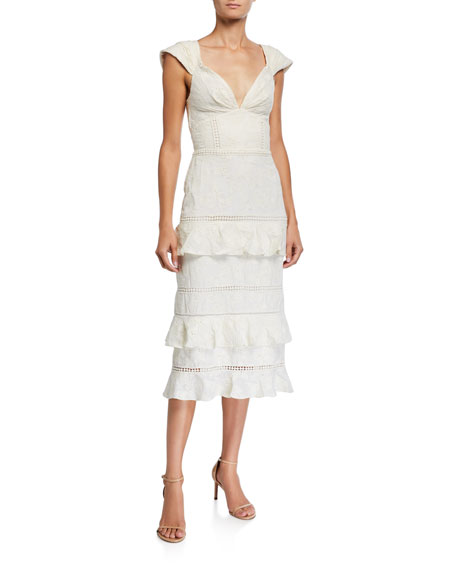 Johanna Ortiz Traduce Me Convertible Off-the-Shoulder Ruffled Lace Dress