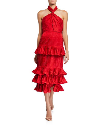 Eccentric Vibes Tiered Ruffled Halter Dress