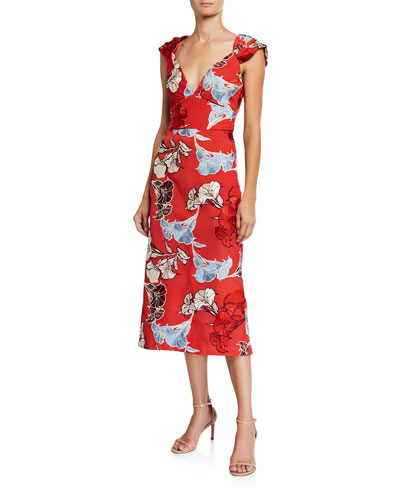Spring Perfumes Floral-Embroidered Crepe de Chine Dress