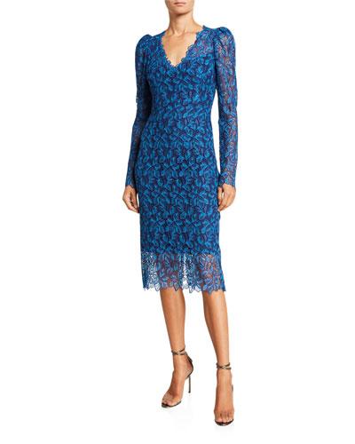 Guipure-Lace Midi Dress