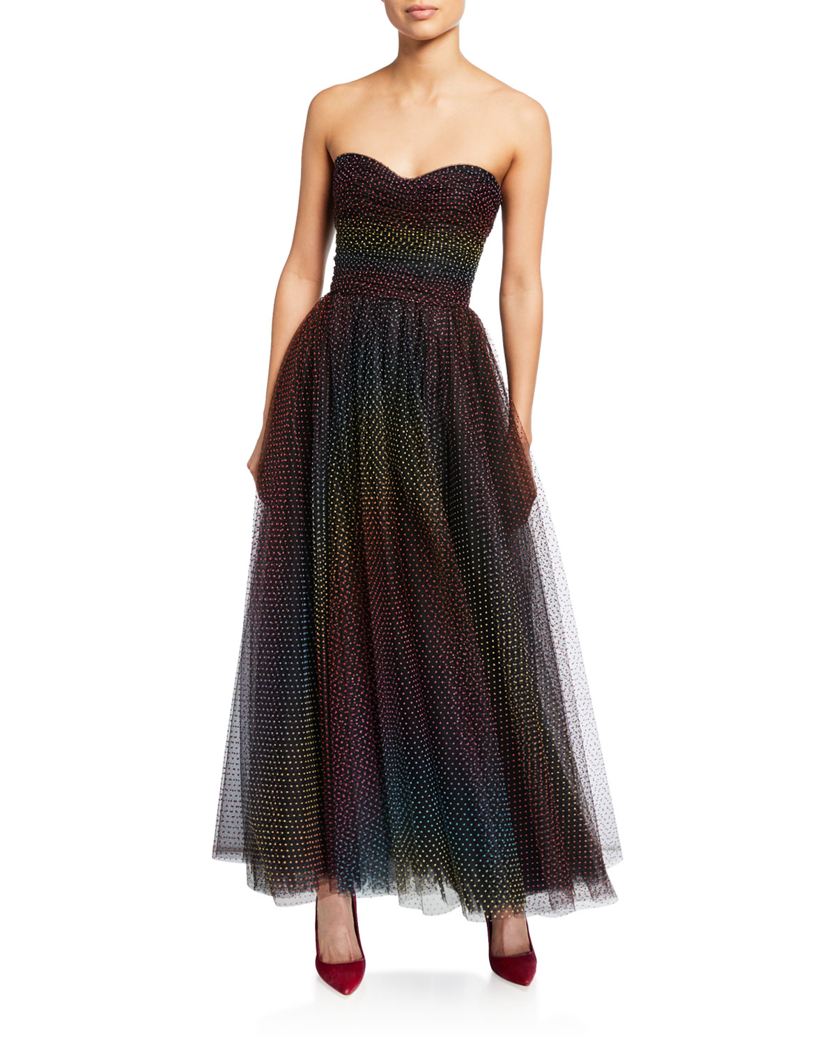 Monique Lhuillier Dresses OMBRE FLOCKED-DOTTED STRAPLESS GOWN