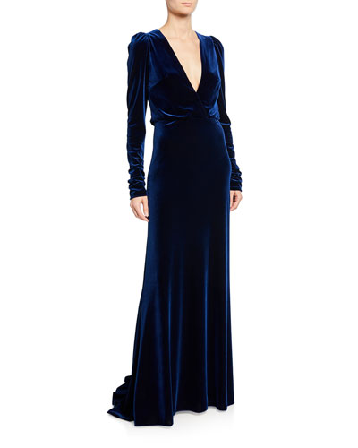 Ruched Velour Faux-Wrap Gown