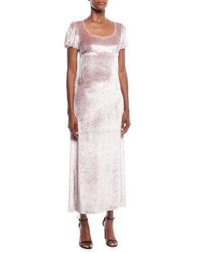 Docia Scoop-Neck Short-Sleeve Cape-Back Velvet Midi Column Dress