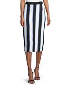 Carolina Herrera Striped Knit Pencil Midi Skirt