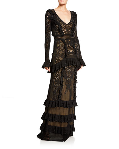 Dragon Lace Knit Flare-Sleeve  Gown