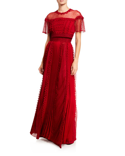 Harui Pleated & Lace Gown