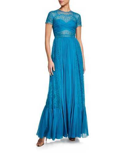 Sora Silk A-Line Gown w/ Lace Trim