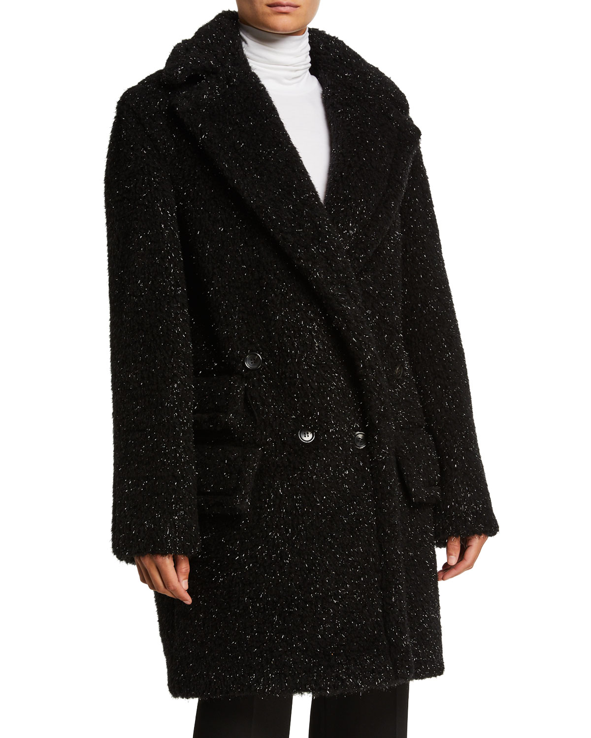 Max Mara Coats METALLIC SPECKED TEDDY COAT