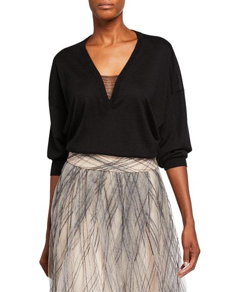 Brunello Cucinelli Cashmere-Silk Chained V-Neck Sweater