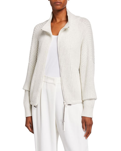 Cashmere Sparkle Zip-Front Sweater