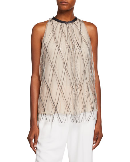Brunello Cucinelli Argyle Monili-Beaded Tulle Blouse