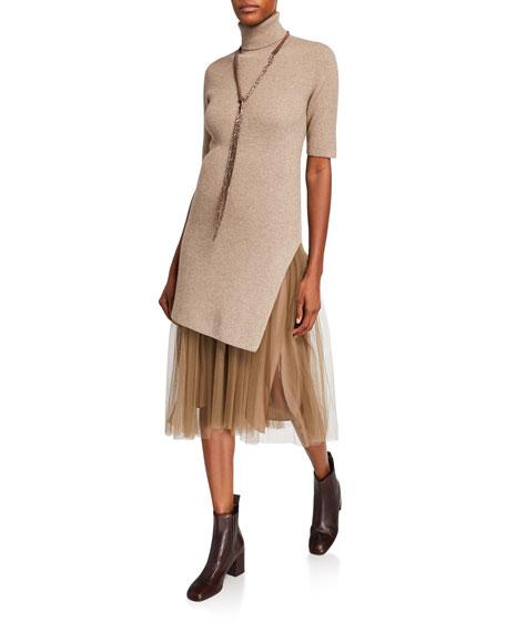 Brunello Cucinelli Short-Sleeve Metallic Ribbed Tunic Dress
