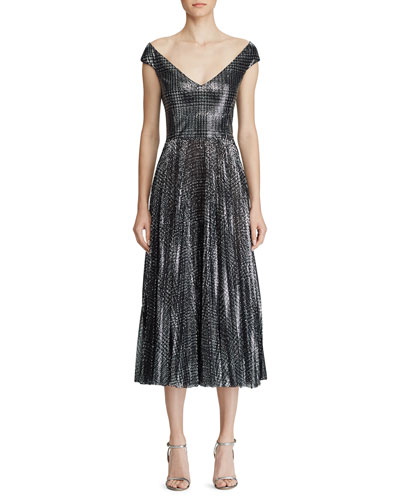 Fonda Metallic Glen-Plaid Dress