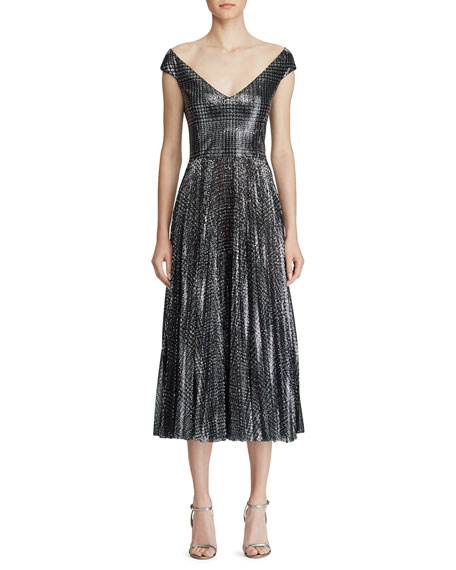 Ralph Lauren Collection Fonda Metallic Glen-Plaid Dress