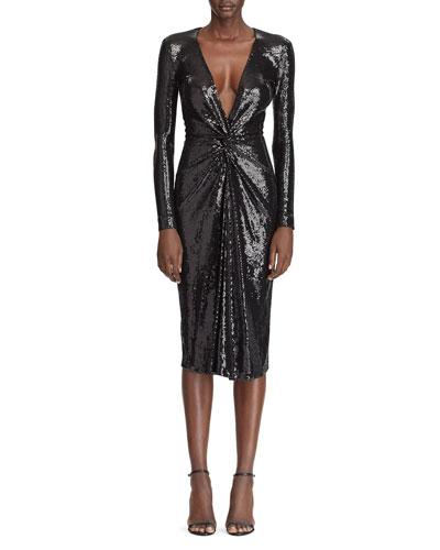 Sequined Deep V-Neck Twisted Dress