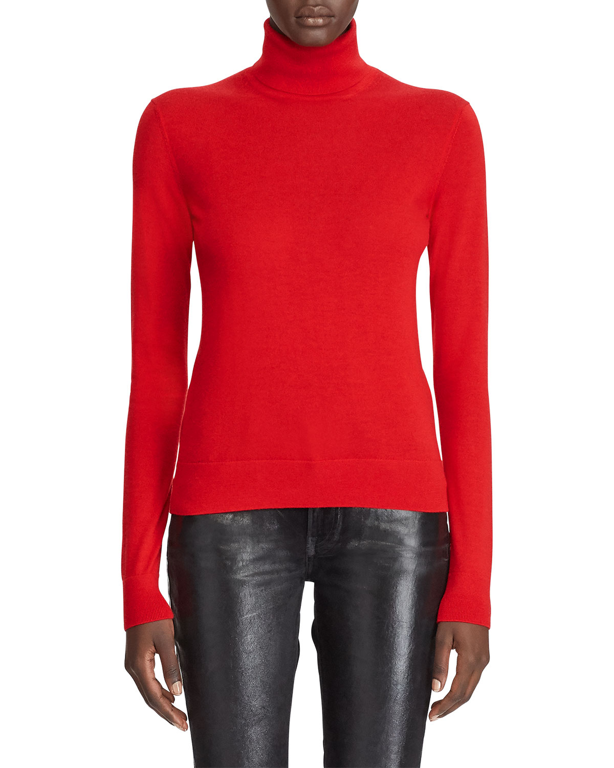 Ralph Lauren Sweaters CASHMERE JERSEY TURTLENECK SWEATER, RED