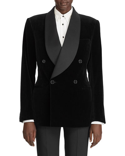 Gregory Velvet Satin-Lapel Jacket