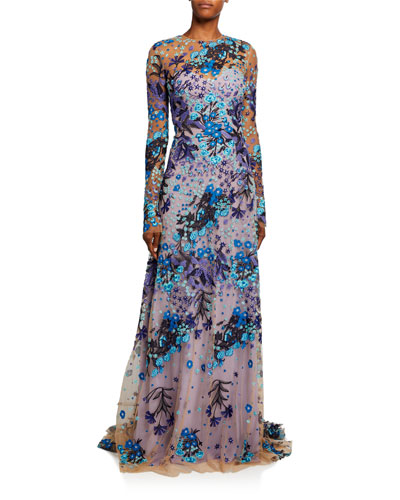 Print Long-Sleeve Gown