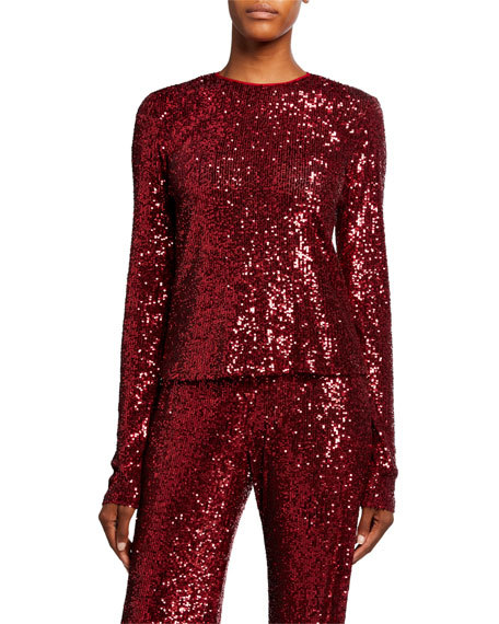 Naeem Khan Long-Sleeve Sequined Top