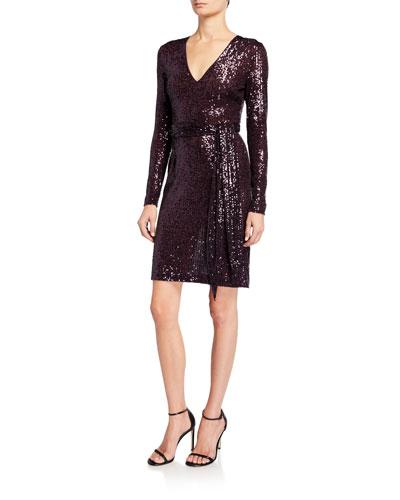 Sequined Short Wrap Dress