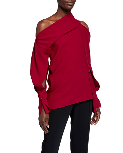 Asymmetric Stretch-Crepe Top