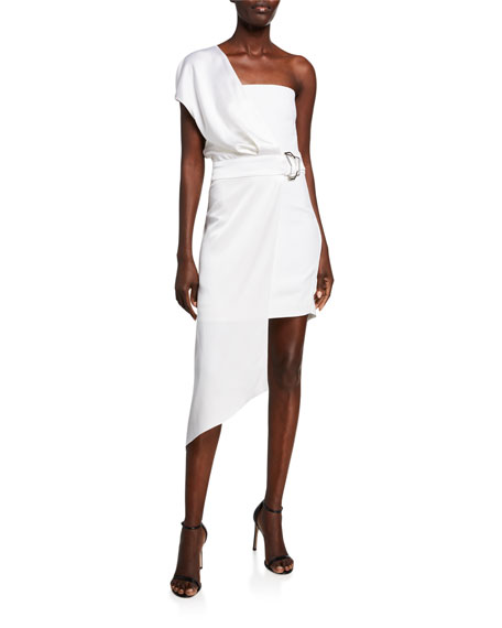 CUSHNIE Charmeuse & Cady One-Shoulder Asymmetric Dress