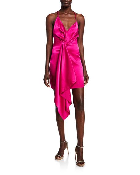 CUSHNIE Wrapped Charmeuse Deep-V Dress