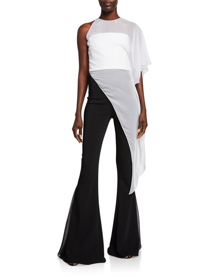 CUSHNIE Chiffon One-Shoulder Asymmetric Top