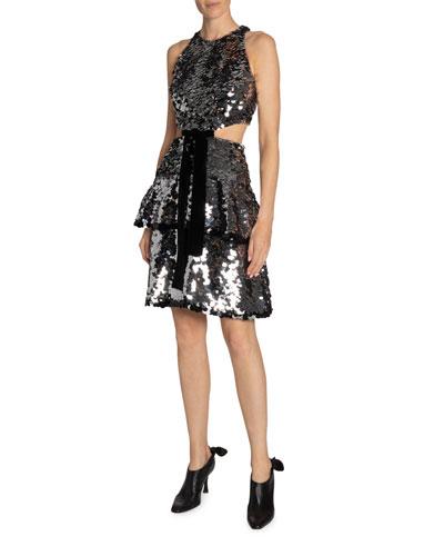 Sequined Velvet-Bowed Cutout Dress