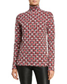 Escada Patchwork Silk-Knit Turtleneck Sweater