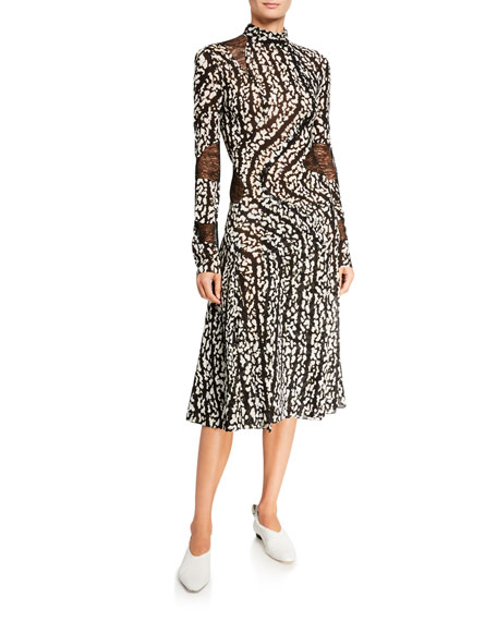 Proenza Schouler Abstract Print Lace-Inset Dress