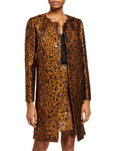 Leopard Print Open-Front Coat