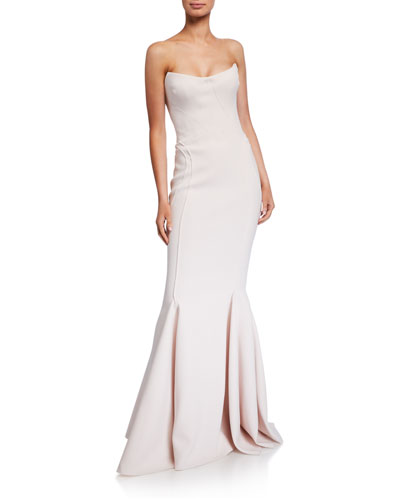 Crepe Strapless Mermaid Gown