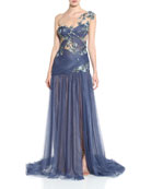 Marchesa Floral Bugle Beaded Illusion Gown