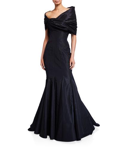 Silk Faille One-Shoulder Mermaid Gown