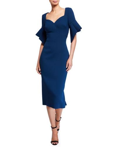Ruffled Short-Sleeve Sheath Dress