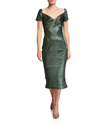 Diamond-Jacquard Cocktail Dress