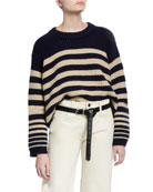 Khaite Kerrie Straight-Leg Crop Jeans, Ivory and Matching
