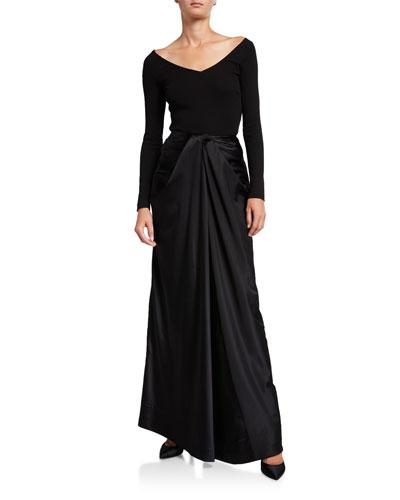 Long Twisted Satin Skirt