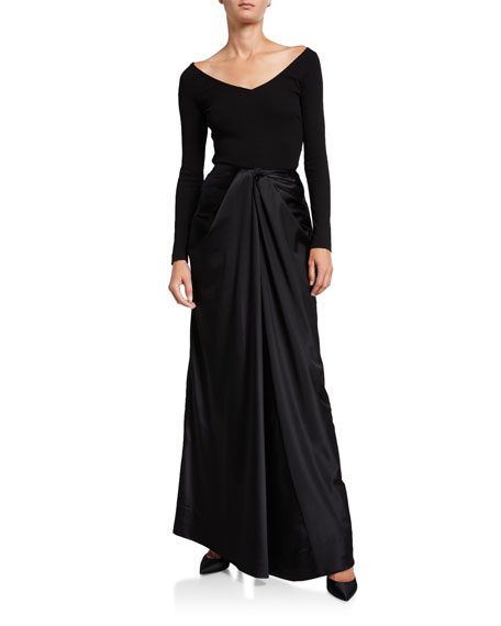 Rosetta Getty Long Twisted Satin Skirt