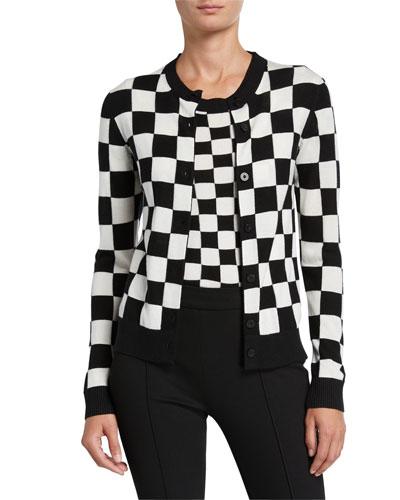 Checkered Silk-Cashmere Cardigan Sweater