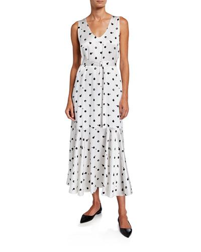 Self-Belted Floral Satin Dress