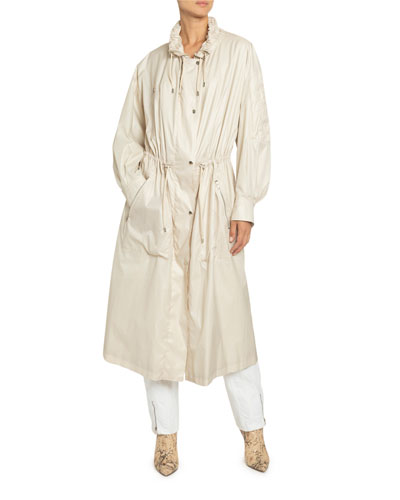 Taffeta Drawstring Zip-Front Coat