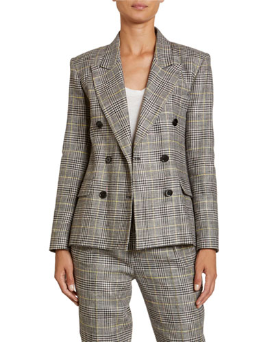 Checked Linen-Silk Double-Breasted Blazer