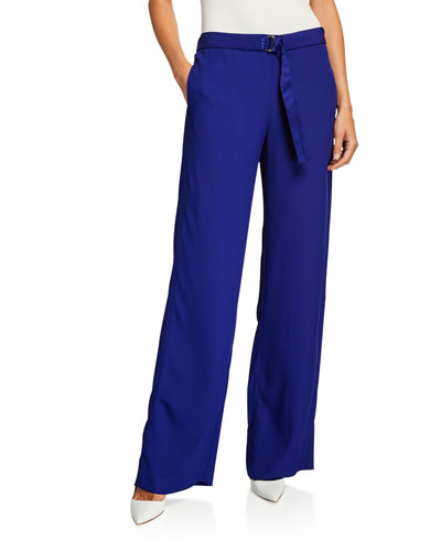 Belted Satin Apron Pajama Pants