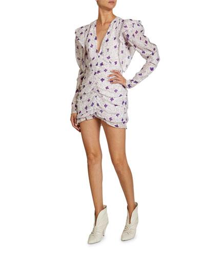 Floral-Print Cotton-Silk V-Neck Mini Dress