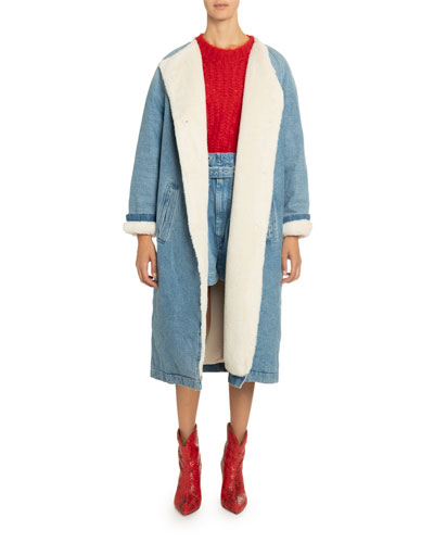 Sherpa-Lined Denim Coat