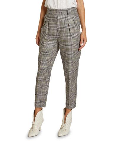 Checked Linen-Silk Slim-Leg Crop Pants