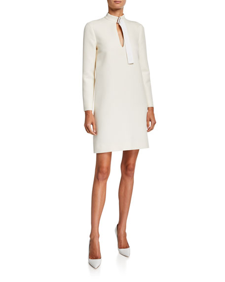 Rosetta Getty Long-Sleeve Wool Belted-Neck Shift Dress